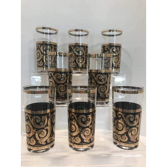 1950s Mid-Century Culver Black & Gold Toledo Highball Glasses - Set of 8 For Sale - Image 5 of 5