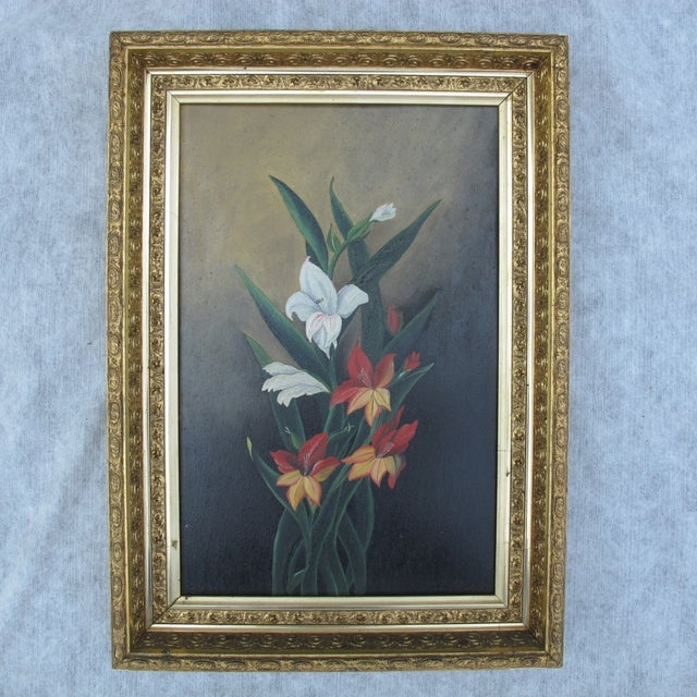 Framed Lilies Oil Painting - Image 2 of 9