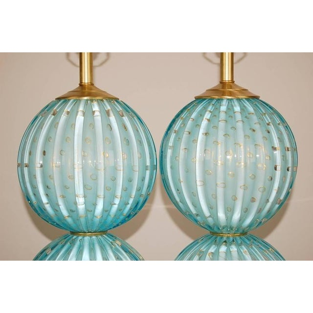 2010s Murano Glass Stacked Ball Table Lamps Blue For Sale - Image 5 of 10
