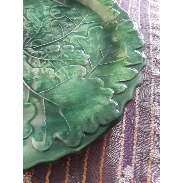 Italian Italian Vintage Vietri Green Cabbage Plate For Sale - Image 3 of 6