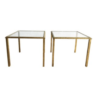 Maison Lancel Wrought Iron Gold Color Plated Side Tables - A Pair For Sale