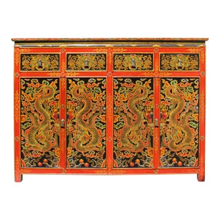 Chinese Tibetan Dragons Flower Graphic Tall Credenza Shoes Cabinet