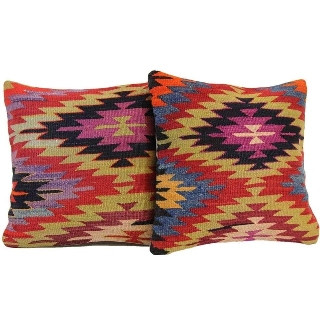 Kilim Pillow Covers - A Pair - Image 1 of 5