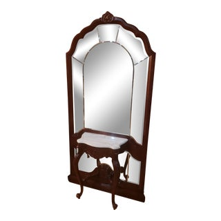 Late 20th Century Victorian Arched Beveled Floor Mirror With Attached Console Table in Cherry Finish For Sale