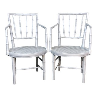 1960s Faux Bamboo Campaign Style White Chairs, Pair For Sale