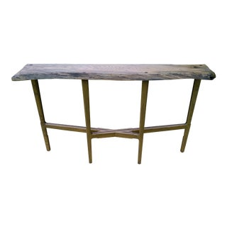 Spalted Oak Slab Console/Sofa Table For Sale