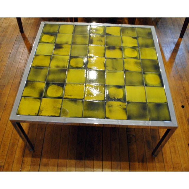 Tile and Chrome Danish Modern Coffee Table - Image 3 of 8