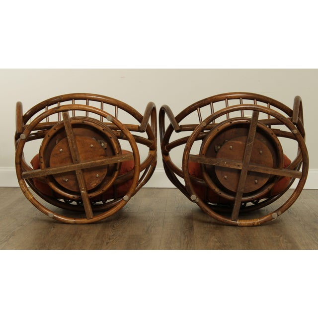 Wood Mid Century Pair Rattan Swivel Rocking Lounge Chairs For Sale - Image 7 of 13