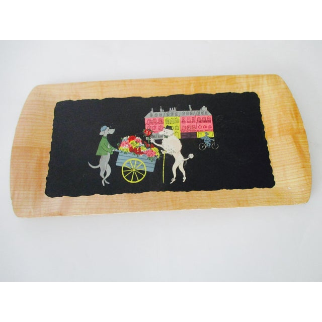 French Serving Tray - Set of 4 Poodles Dogs French Poodle Fifi and Pepe For Sale In Phoenix - Image 6 of 9