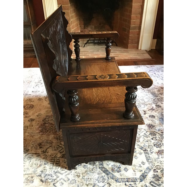 Late 19th Century Antique Brown Monks Bench For Sale - Image 4 of 13