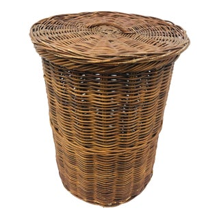 Large Woven Wicker Hamper Basket For Sale
