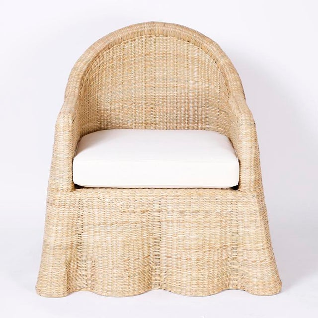Wicker Drapery Ghost Arm Chairs - a Pair For Sale - Image 4 of 11