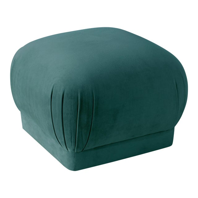 Textile Mystere Peacock Square Ottoman For Sale - Image 7 of 7