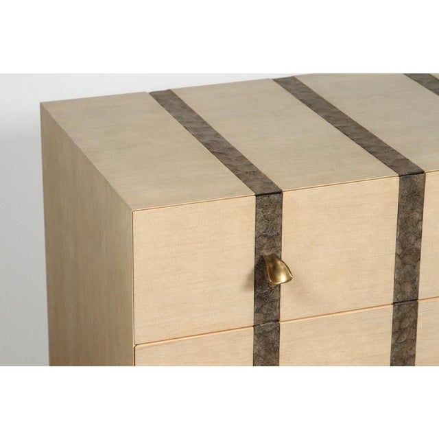 Paul Marra Three-Drawer Banded Chest in Bleached Douglas Fir and Inset Iron Band For Sale In Los Angeles - Image 6 of 10