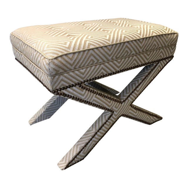 Transitional Scalamandre Upholstered X Bench For Sale