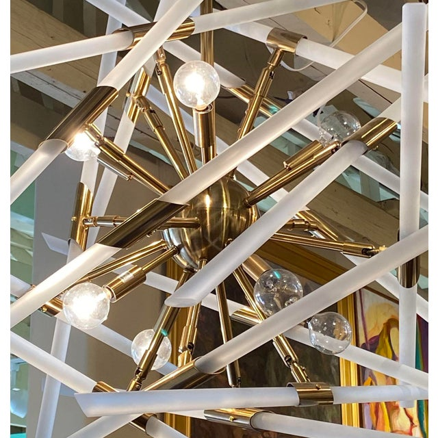 Contemporary Frosted Glass Rods and Brass Sputnik Center Chandelier For Sale - Image 4 of 6
