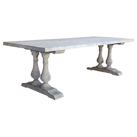 Neoclassical Library Table with Whitewash Finish - Image 1 of 10