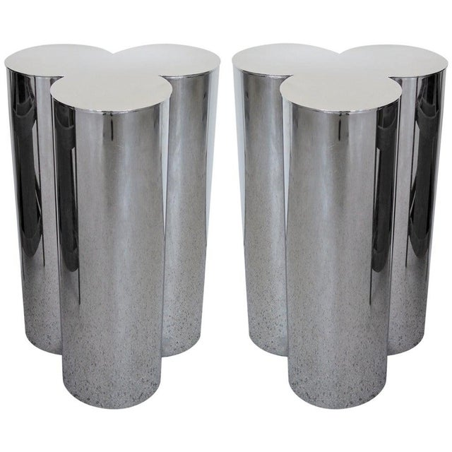 1960's Stainless Steel Pedestals by Mastercraft-a Pair For Sale In Tampa - Image 6 of 6