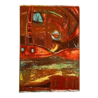 Mid Century Lithograph in Warm Tones For Sale
