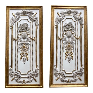 Louis XV Style White & Gold Floral Panels - a Pair For Sale