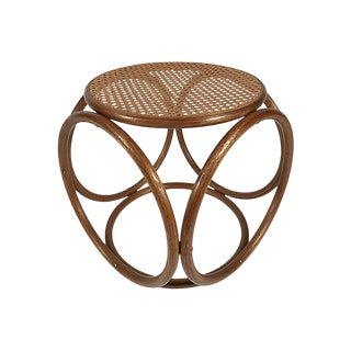 1960s Bentwood & Cane Footstool Ottoman For Sale