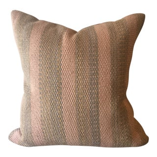 Vintage Muted Rose & Tan Striped Pillow For Sale