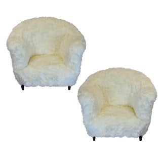 A Pair of Large Danish Armchairs in Fur For Sale