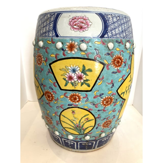 Chinoiserie Antique Chinese Chinoiserie Turquoise & Yellow Ceramic Garden Seat, A-Pair For Sale - Image 3 of 10