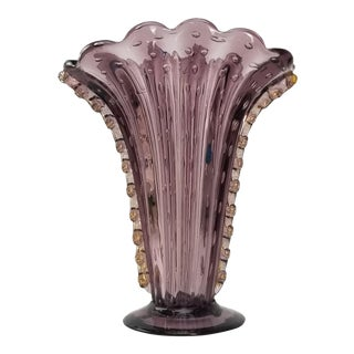 Barovier & Toso Murano Glass - Amethyst Controlled Bubble & Gold Flecks Vase For Sale
