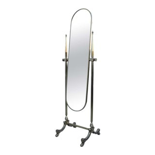 1960s French Brass Cheval Mirror For Sale