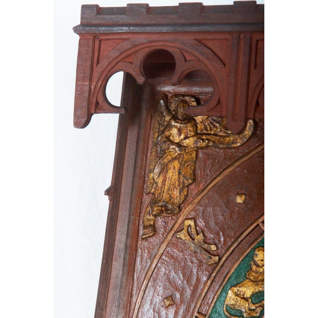 19th Century Danish Wooden Zodiac Clock in Gothic Style For Sale - Image 6 of 13