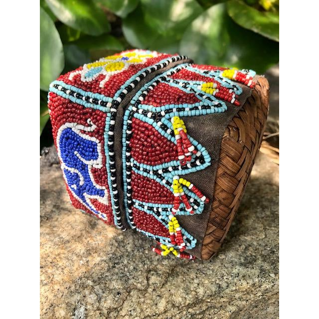 Wood Vintage Red Elephant Indonesian Hand Beaded Basket With Lid For Sale - Image 7 of 11