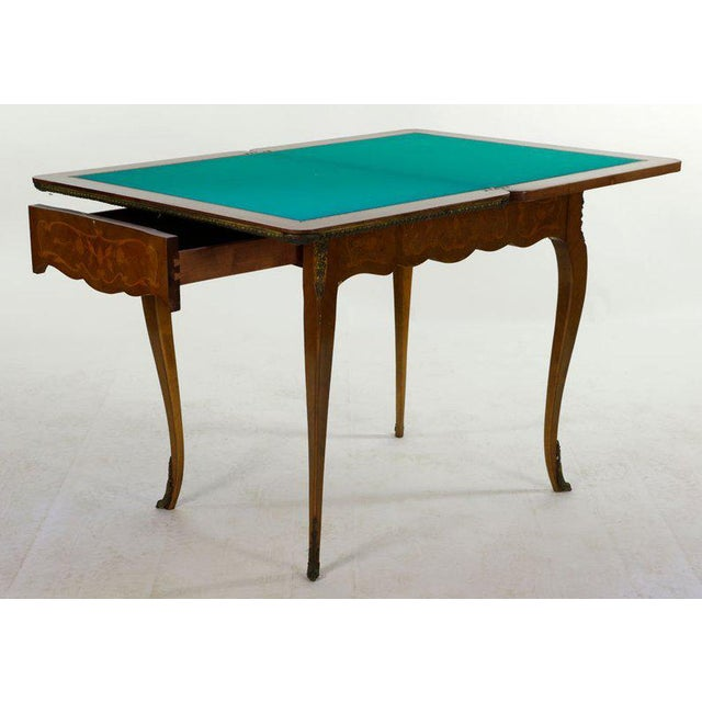 19th Century French Louis XVI Style Marquetry Game Table For Sale - Image 4 of 8
