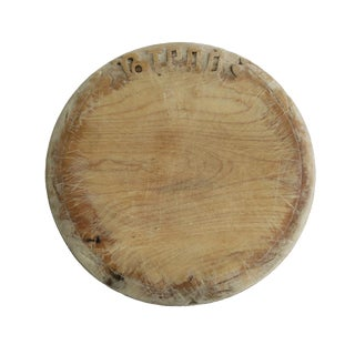Antique Carved Wood Round Cutting Serving Bread Board For Sale