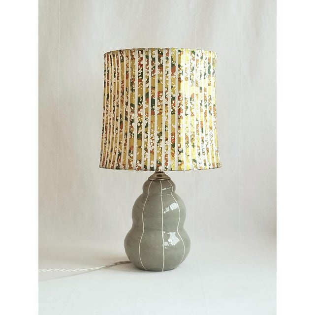 2010s Gray Table Lamp With Pinstripes For Sale - Image 5 of 8
