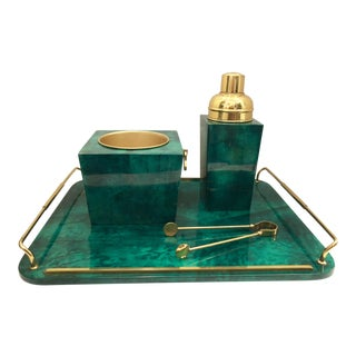 Aldo Tura Emerald Green and Gold Bar Set