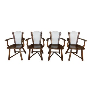 Romweber Viking Oak Arm Chairs Set of 4 Chairs For Sale