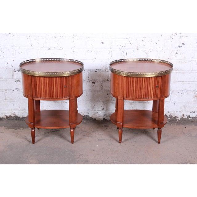 Baker Furniture French Regency Cherry and Brass Tambour Door Nightstands, Pair For Sale - Image 13 of 13