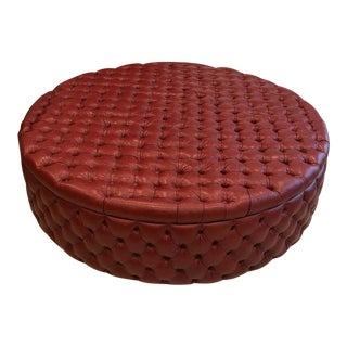 Monumental Modern English Oxblood Leather Circular Ottoman For Sale