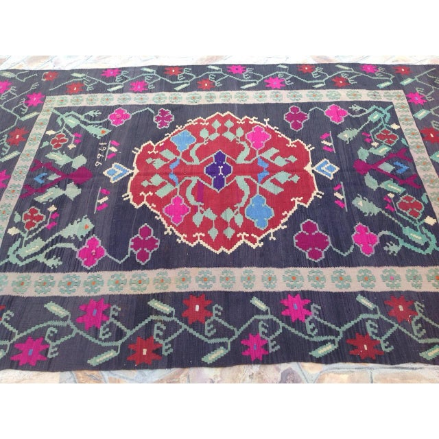 Vintage Turkish Kilim Rug - 6′8″ × 10′2″ For Sale - Image 4 of 7
