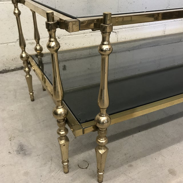 Italian Smoked Glass & Brass Coffee Table For Sale - Image 4 of 10
