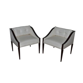 Early 21st Century Vintage Christopher Guy Modern Lounge Arm Chairs- A Pair For Sale