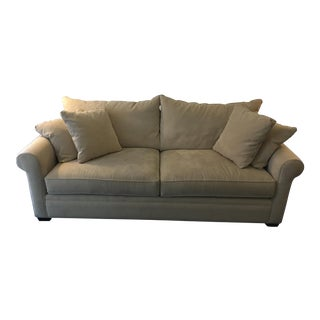 Beige Suede 2-Seater Sofa With Throw Pillows For Sale