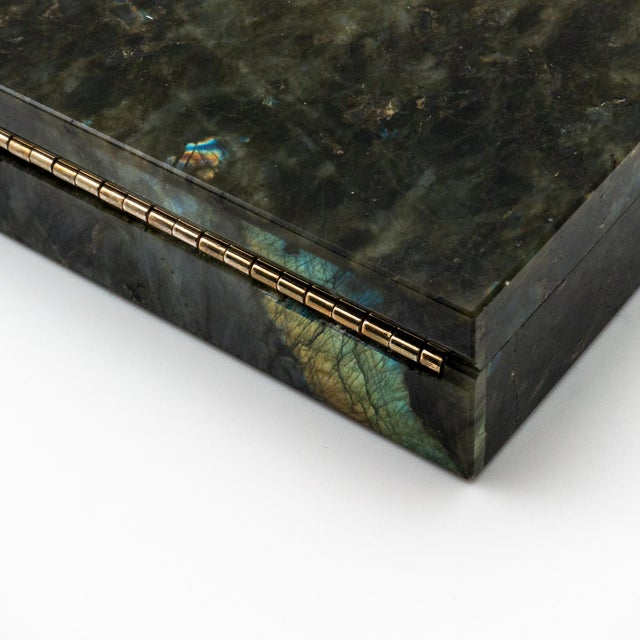 Labradorite Semi Precious Stone Box with Hinged Lid For Sale In New York - Image 6 of 7