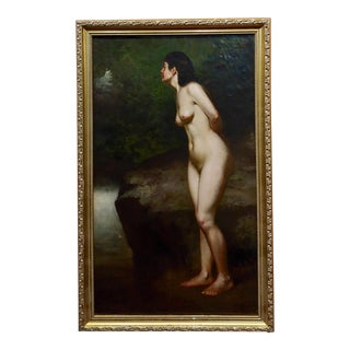"""John George Brown """"Nude Female in a Wooded Landscape"""" Oil Painting, 19th Century For Sale"""