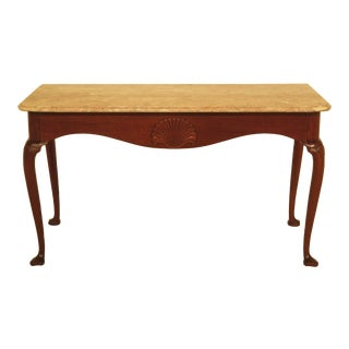 1970s Queen Anne Kittinger Colonial Williamsburg Marble Top Mahogany Console Table For Sale