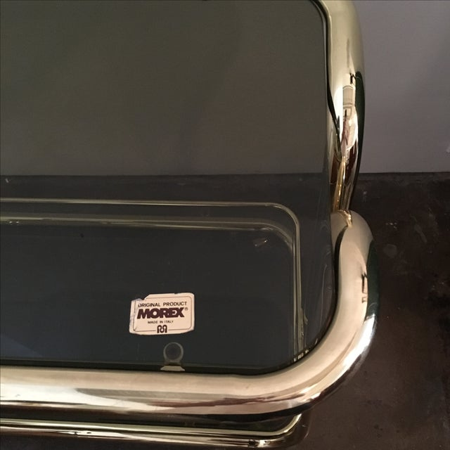 Morex Italian Modern Glam Brass and Smoked Glass Bar Cart, Trolley or Server - Image 2 of 9