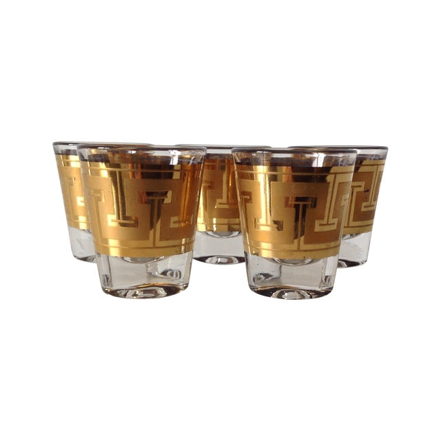 "Gilt ""Greek Key"" Shot Glasses - Set of 5 - Image 1 of 6"