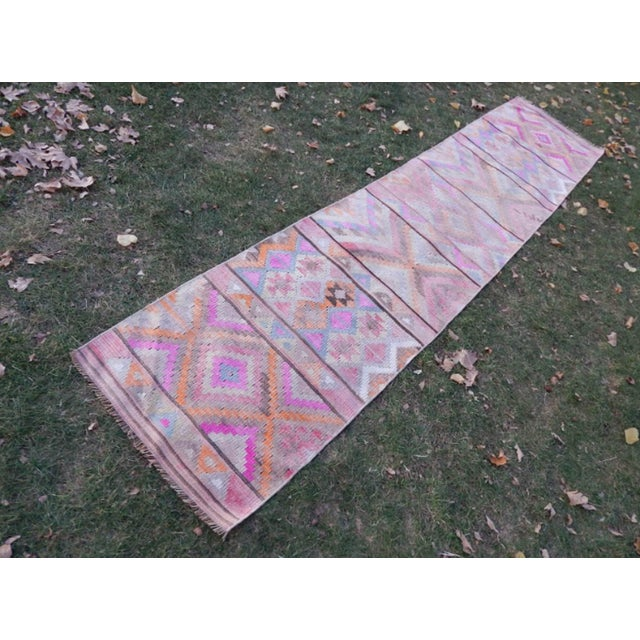 Vintage Turkish Kurdish Kilim Runner 31.1'' X 140.5'' / 79x357cm Hand woven with high quality pure wool Excellent...