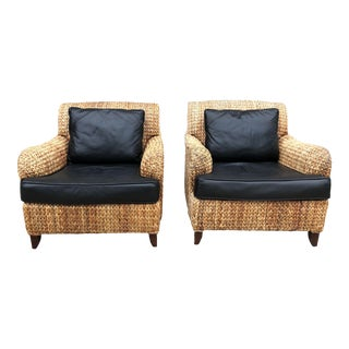 Vintage Set of Palecek Woven Rattan Lounge Chairs For Sale